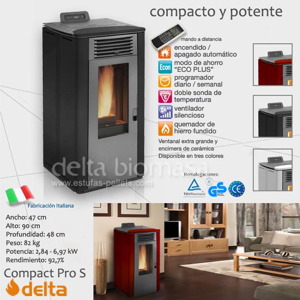Estufa de pellets delta compact pro s oferta precio pvp - Que es una estufa de pellets ...